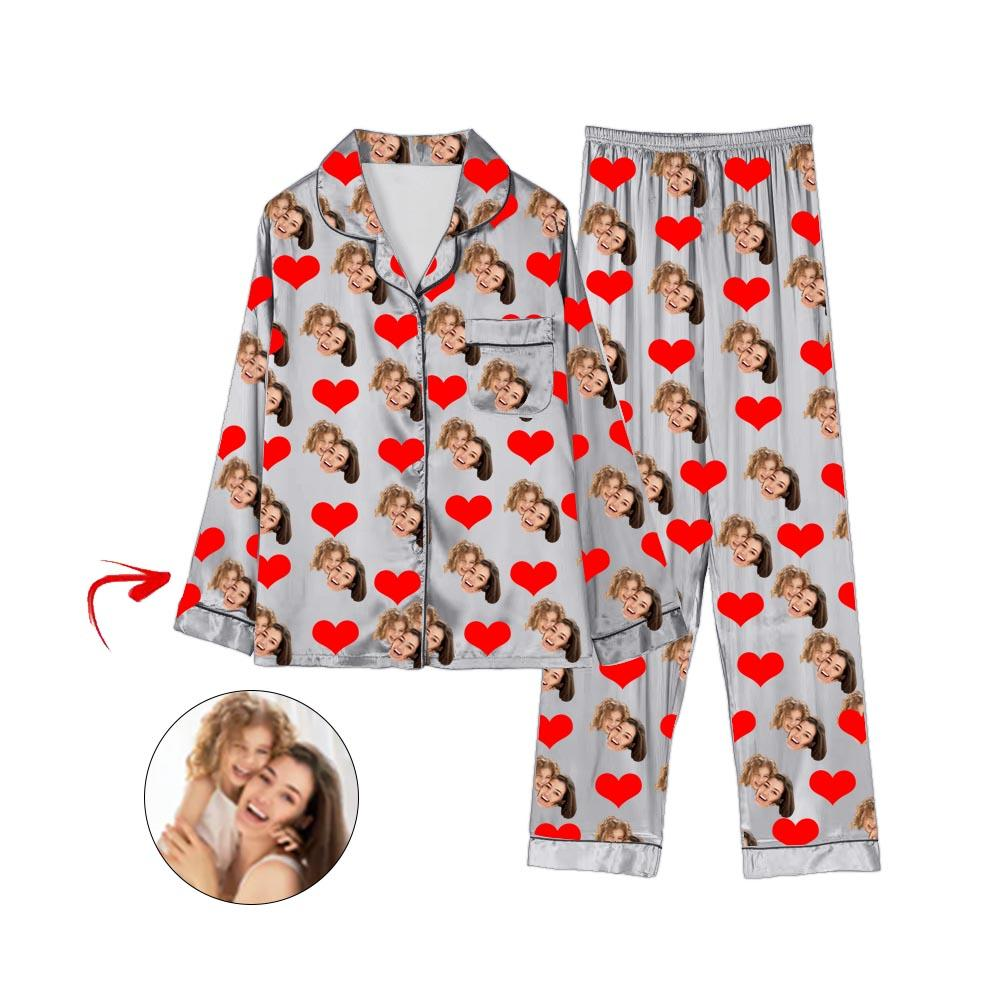 Custom Photo Satin Pajamas Heart Happy Mother's Day Grey