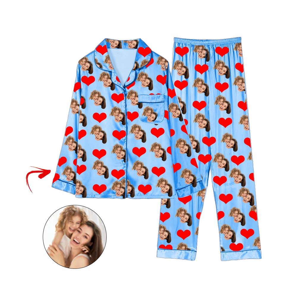 Custom Photo Satin Pajamas Heart Happy Mother's Day Blue