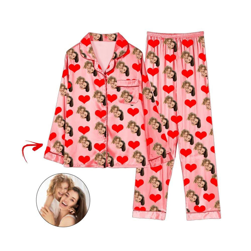 Custom Photo Satin Pajamas Happy Mother's Day Pink