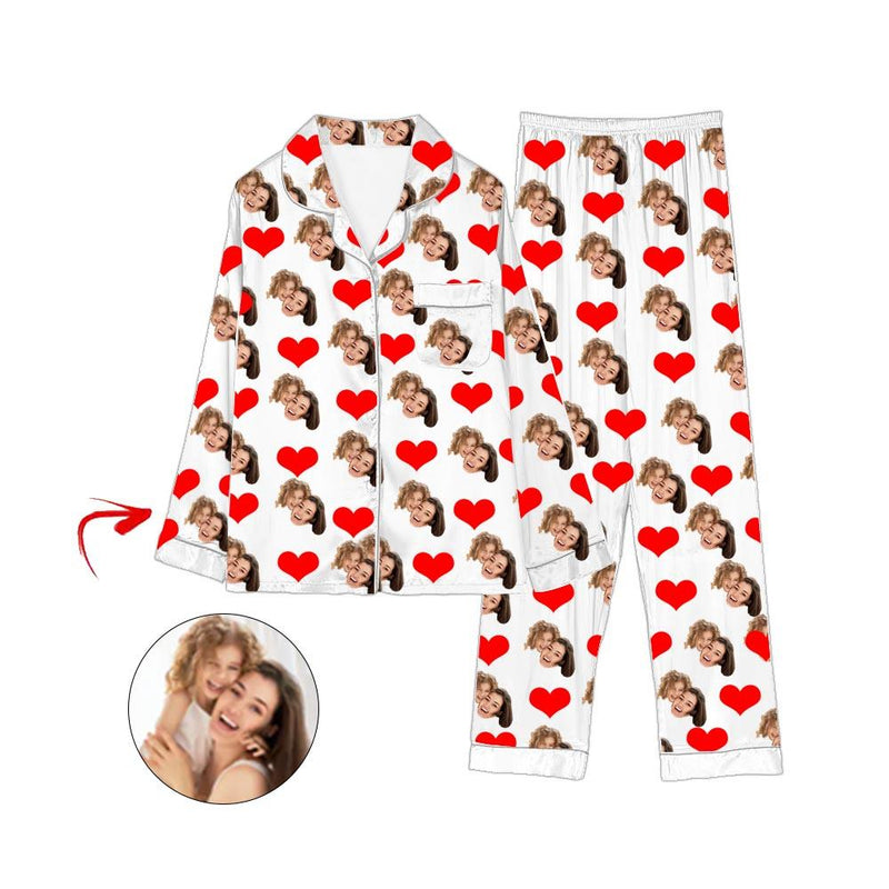 Custom Photo Satin Pajamas Heart Happy Mother's Day Champagne