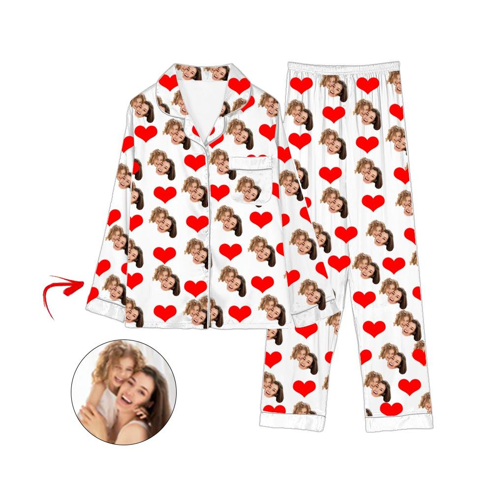 Custom Photo Satin Pajamas Heart Happy Mother's Day White