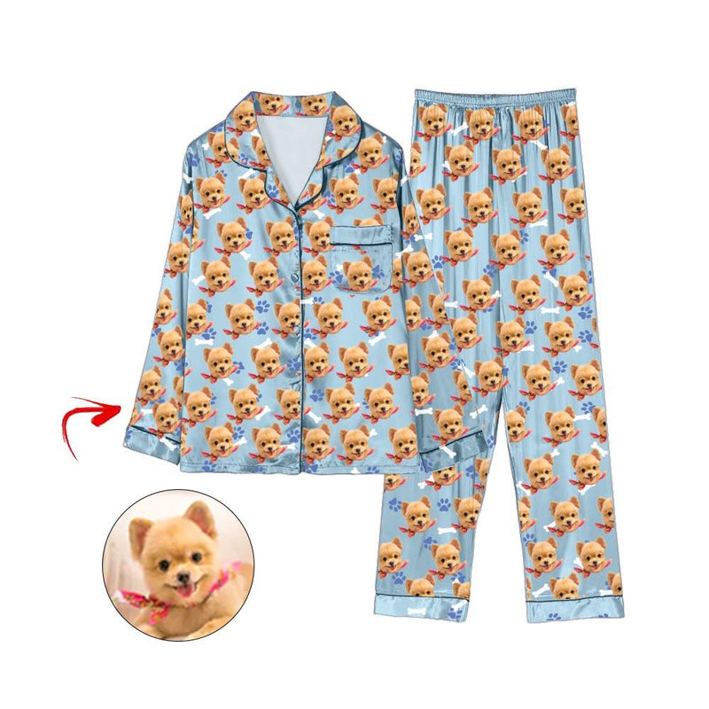 Custom Photo Satin Pajamas Dog Footprint Grey