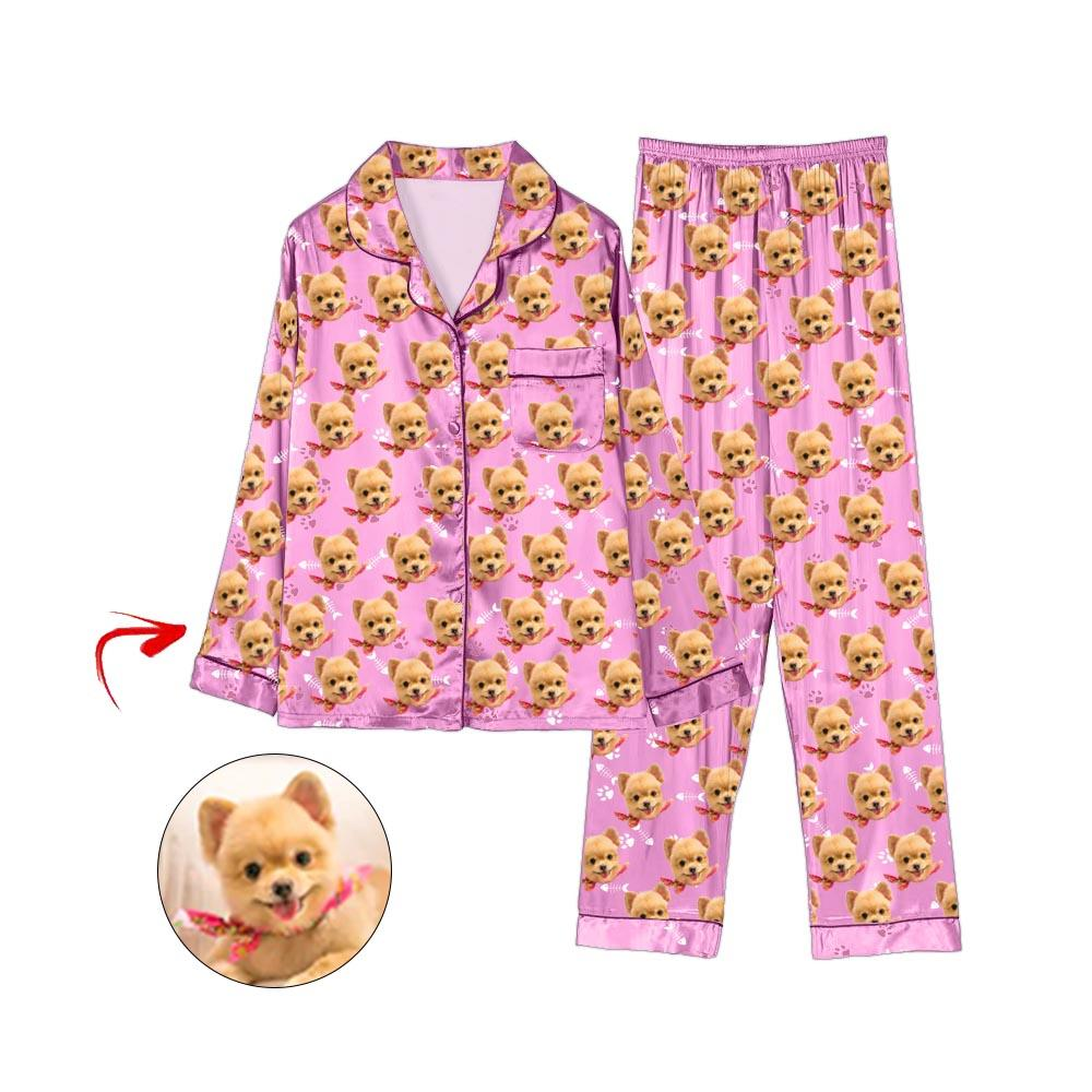 Custom Photo Satin Pajamas Dog Footprint Pink