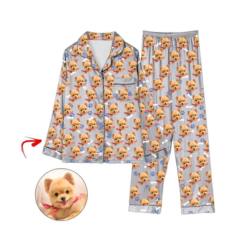 Custom Photo Satin Pajamas Dog Footprint Light Blue