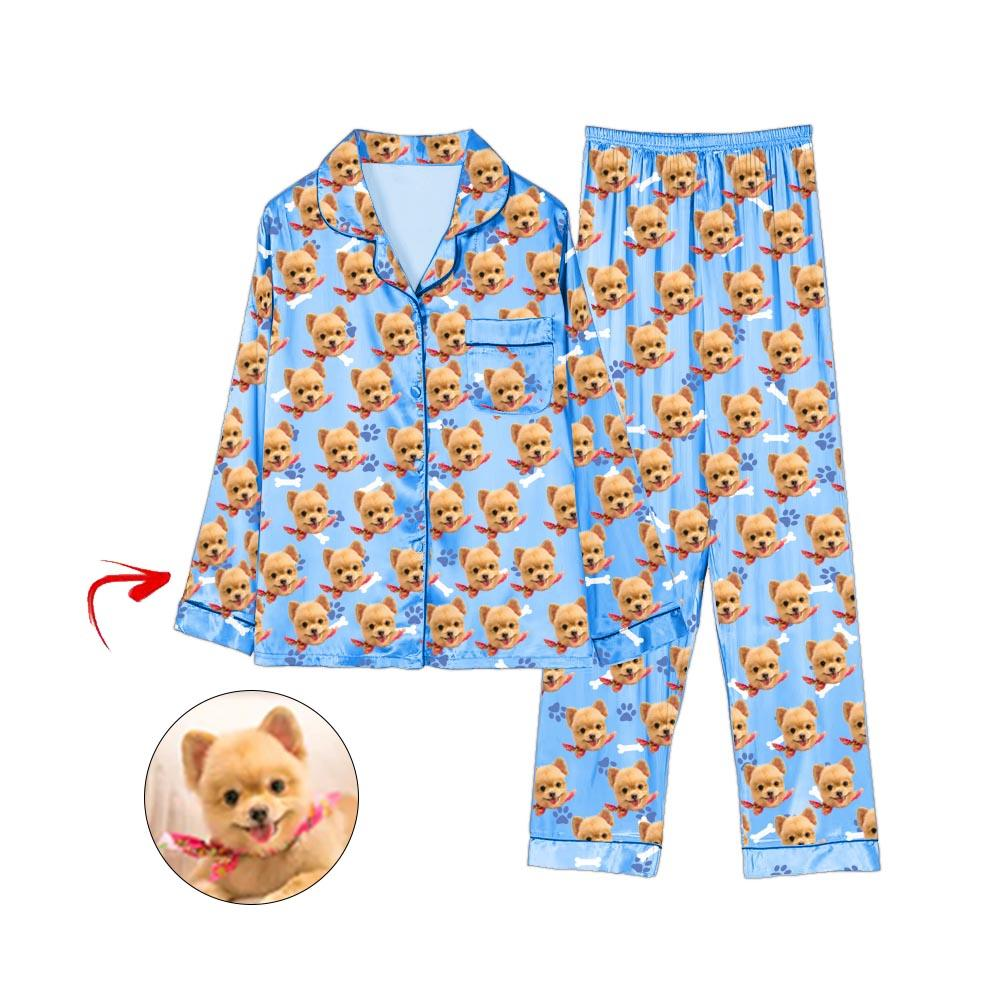 Custom Photo Satin Pajamas Dog Footprint Blue