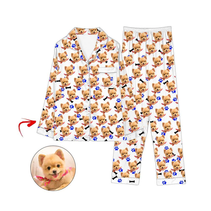 Custom Photo Pajamas I Love My Dog Blue