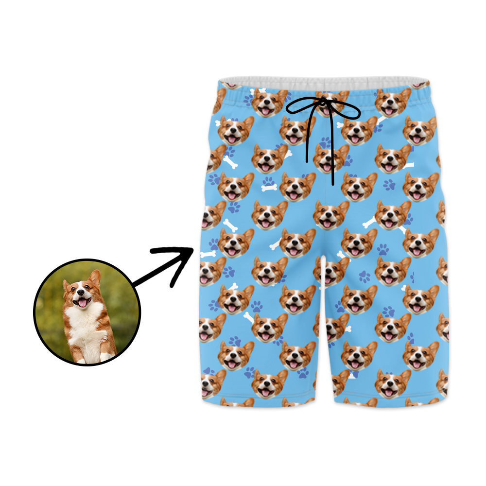 Custom Photo Swim Trunk Dog Footprint