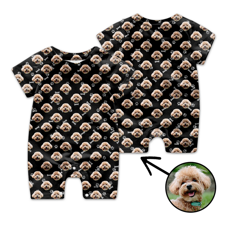 Custom Face Baby Bodysuit Heart Dog Footprint