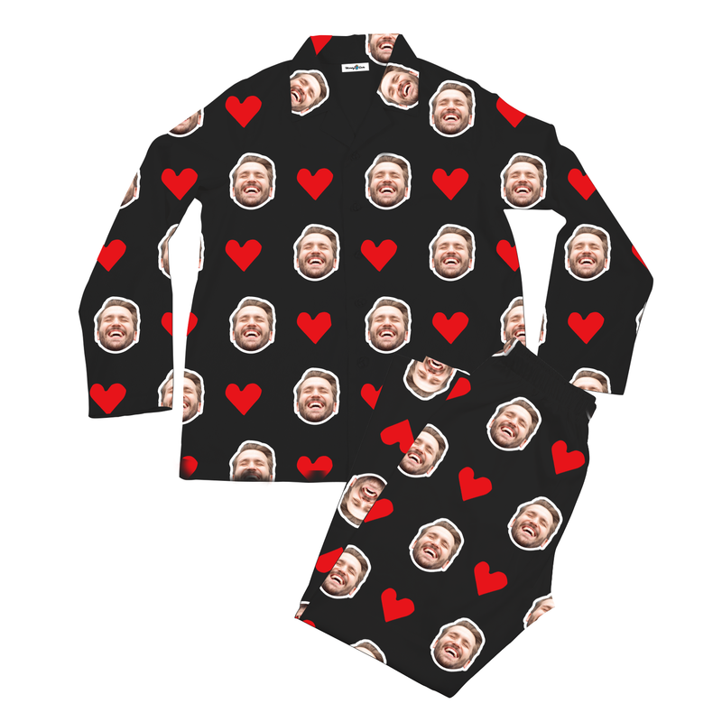 Custom Photo Pajamas Heart I Love My Husband Black