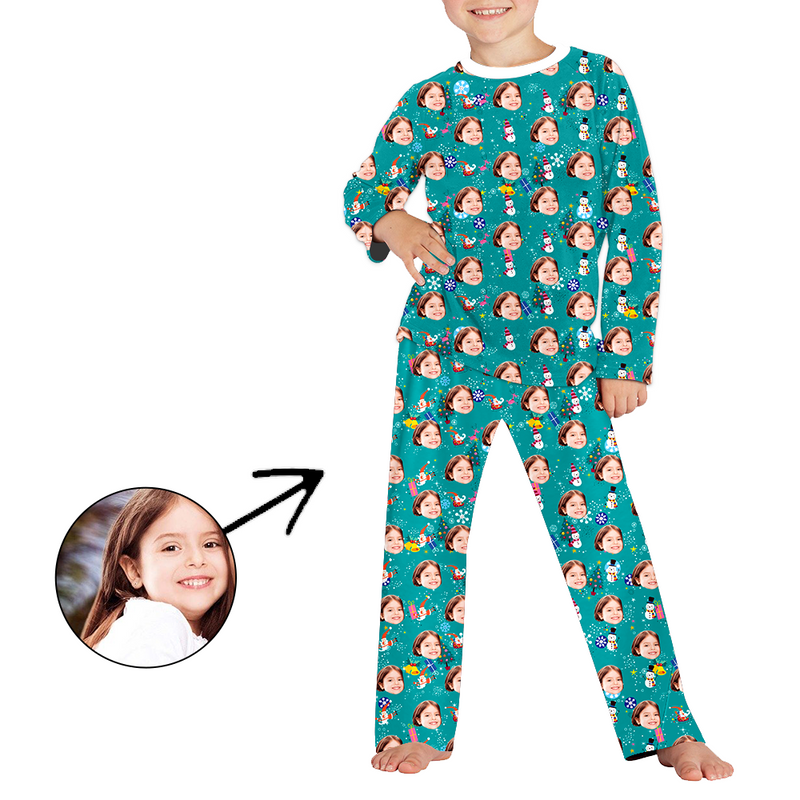 Custom Photo Pajamas For Kids Happy Holiday Long Sleeve