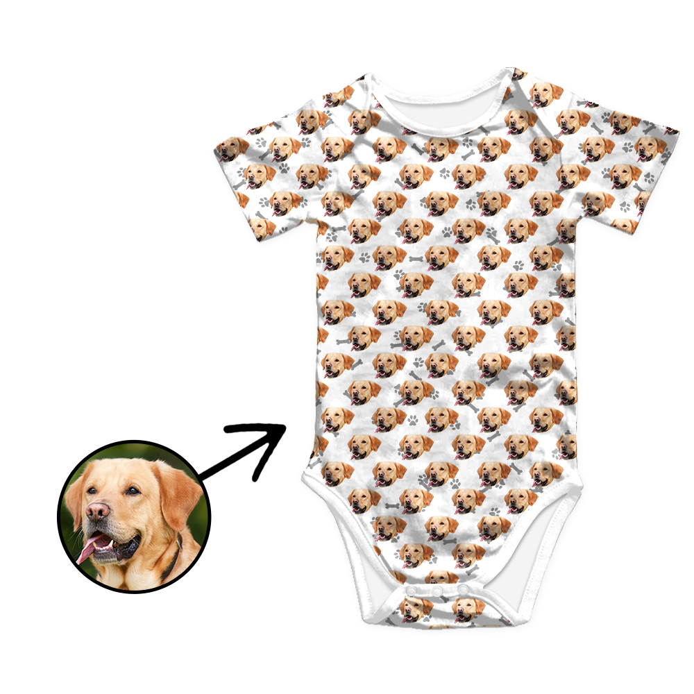 Custom Photo Baby Bodysuit Heart Dog Footprint
