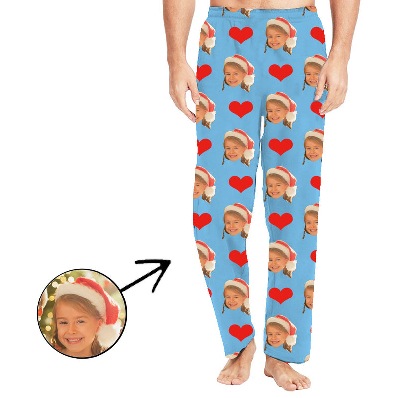 Custom Photo Pajamas Pants Christmas Gift For Men Heart I Love My Wife Long Sleeve