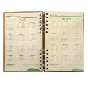 Sustainable 2021-2022 school agenda - recycled paper - Red Heart