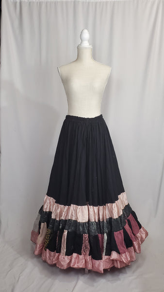 Black and Dusty Rose Elizabeth Skirt
