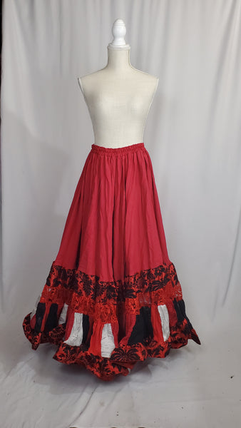 Red with White and Black Elizabeth Skirt