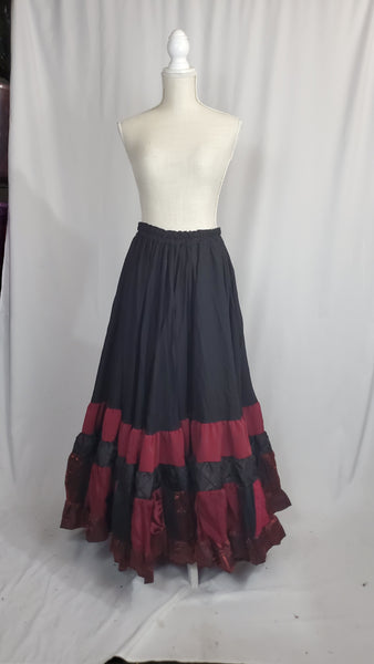 Black and Burgundy Elizabeth Skirt