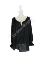 Black Patterned Long Sleeve Peasant Blouse