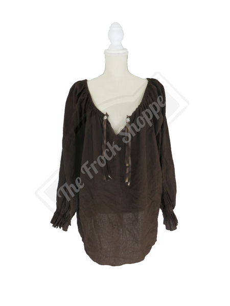 Brown Long Sleeve Peasant Blouse