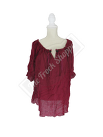 Burgundy Short Sleeve Peasant Blouse