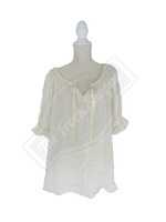 Cream Short Sleeve Peasant Blouse
