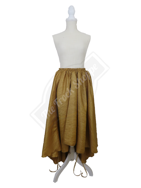 Gold Textured High-Low Convertible Bustle Skirt