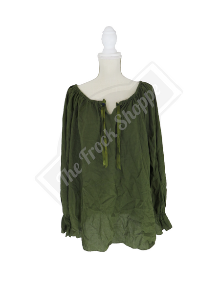 Olive Long Sleeve Peasant Blouse