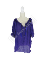 Purple Short Sleeve Peasant Blouse