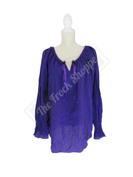 Purple Long Sleeve Peasant Blouse