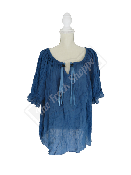 Slate Blue Short Sleeve Peasant Blouse
