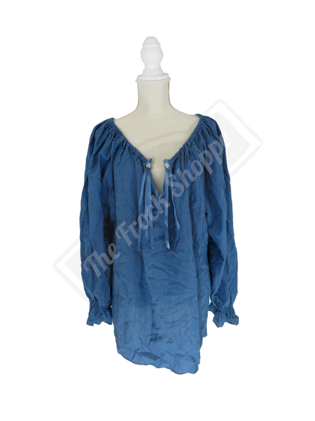 Slate Blue Long Sleeve Peasant Blouse