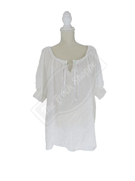 White Short Sleeve Peasant Blouse