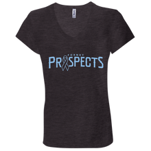 Load image into Gallery viewer, Prospects Wordmark Ribbon Ladies' Jersey V-Neck T-Shirt