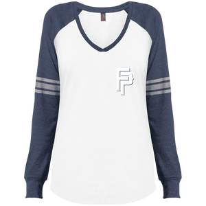 FP Mini Logo Ladies' Game LS V-Neck T-Shirt