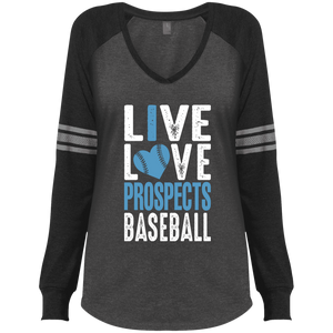 Live Love Prospects Baseball Ladies' Game LS V-Neck T-Shirt