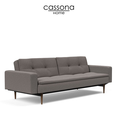 DUBLEXO STYLETTO SOFA BED DARK WOOD WITH ARMS