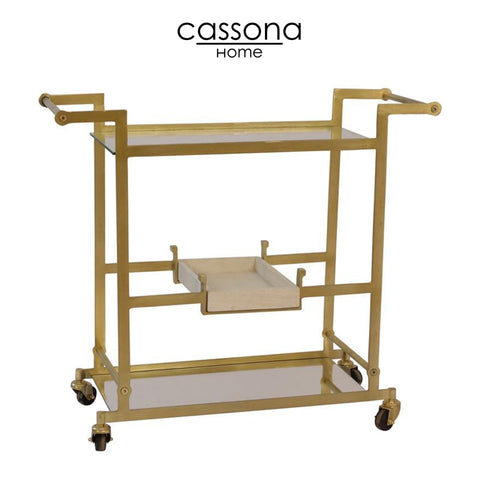 "METAL 34"" BAR CART W/MIRRORED SHELVES, GOLD. KD"