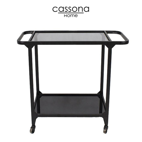 METAL & GLASS BAR CART, BLACK