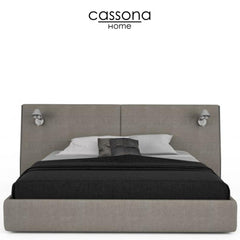 SERENO UPHOLSTERED BED, QUEEN OR KING WITH TWO ARTEMIDE LAMPS
