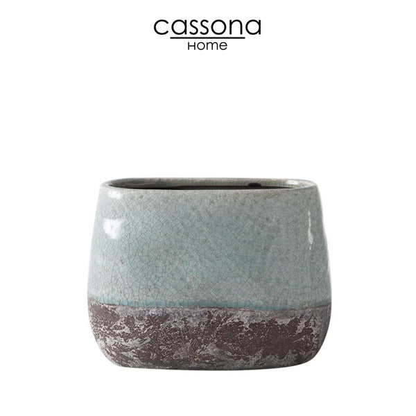 CORSICA CERAMIC CRACKLE 2 TONE OVAL TALL POT