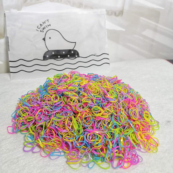 1000/2000 Multicolor Kids Adults Elastic Hair Tie Rubber Bands