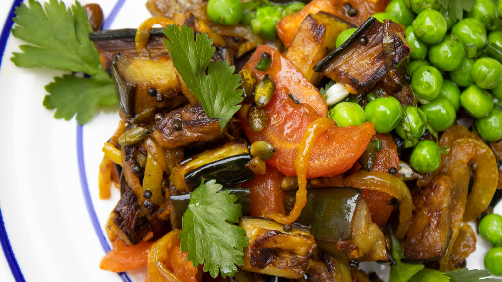 Aubergine Brinjal with Spiced Pumpkin Seeds by Annie Bell