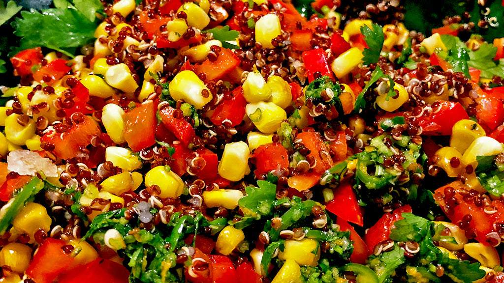 Grilled Corn and Quinoa Salad with Orange and Chilli Dressing