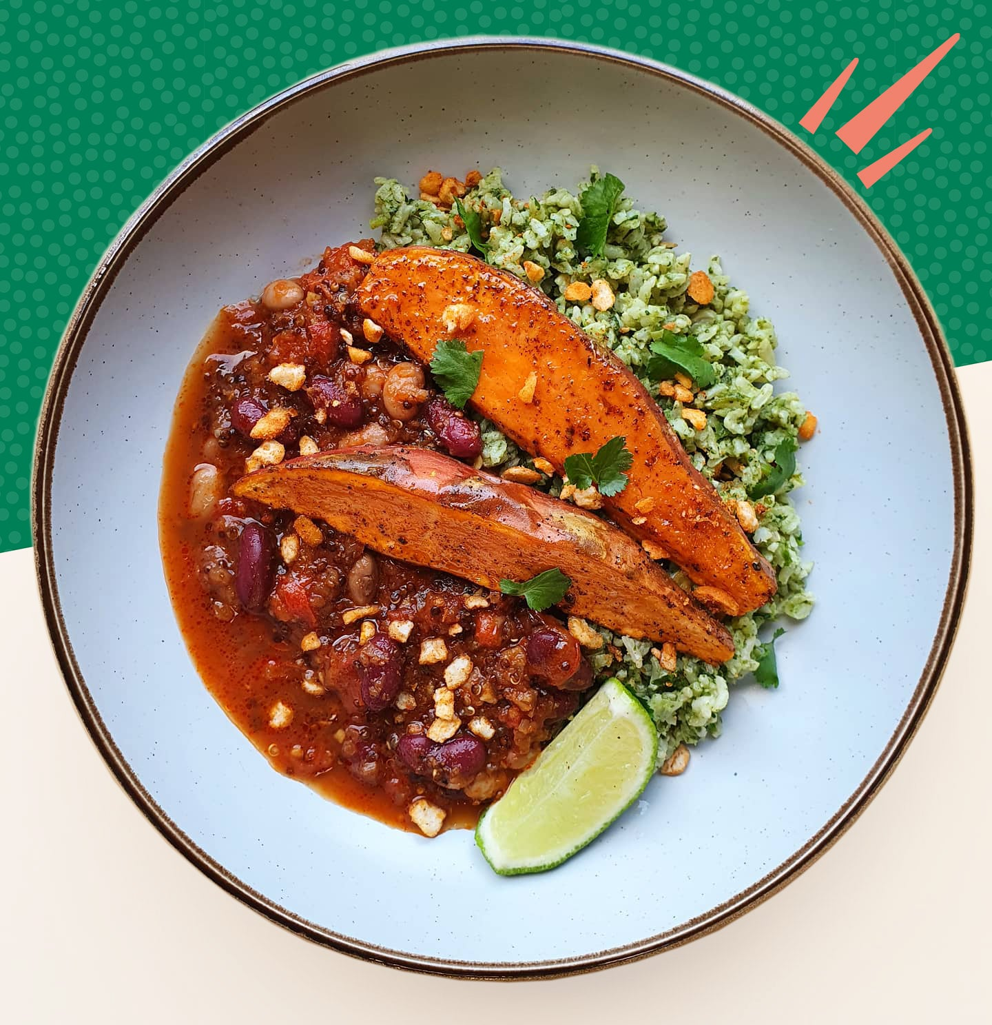 Mexican Chipotle Bean Stew, Green Rice and Sweet Potato