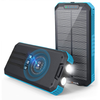 Solar Charger - 30000mAh Solar Power Bank Wireless Portable Charger Quick Charge 3.0 Type C Input Port with 6 Outputs, Dual Flashlight External Battery Portable Charger Power Bank for iOS and Android