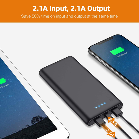 Portable Charger Power Bank 25800mAh Huge Capacity External Battery Pack Dual Output Port with LED Status Indicator Power Bank for iPhone, Samsung Galaxy, Android Phone,Tablet & etc(Black)
