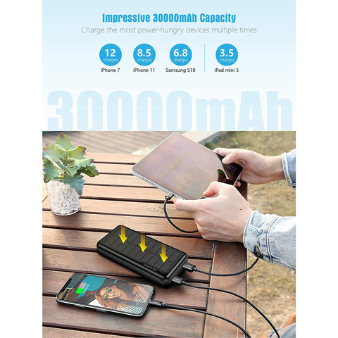 Solar Power Bank 30,000mAh-Minrise Portable Charger, Solar Charger Power Bank with 2 USB Outputs, External Battery Pack for Outdoor Activities Compatible with Smartphones etc.