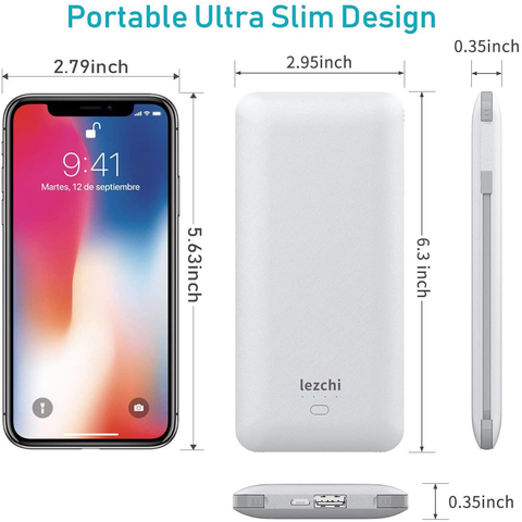 Portable Power Bank, Ultra Slim 10000mAh Portable Charger, USB C External Battery Pack with Built-in AC Plug, Charging Cable, Output Port, Compatible with All Kinds of Cellphones …