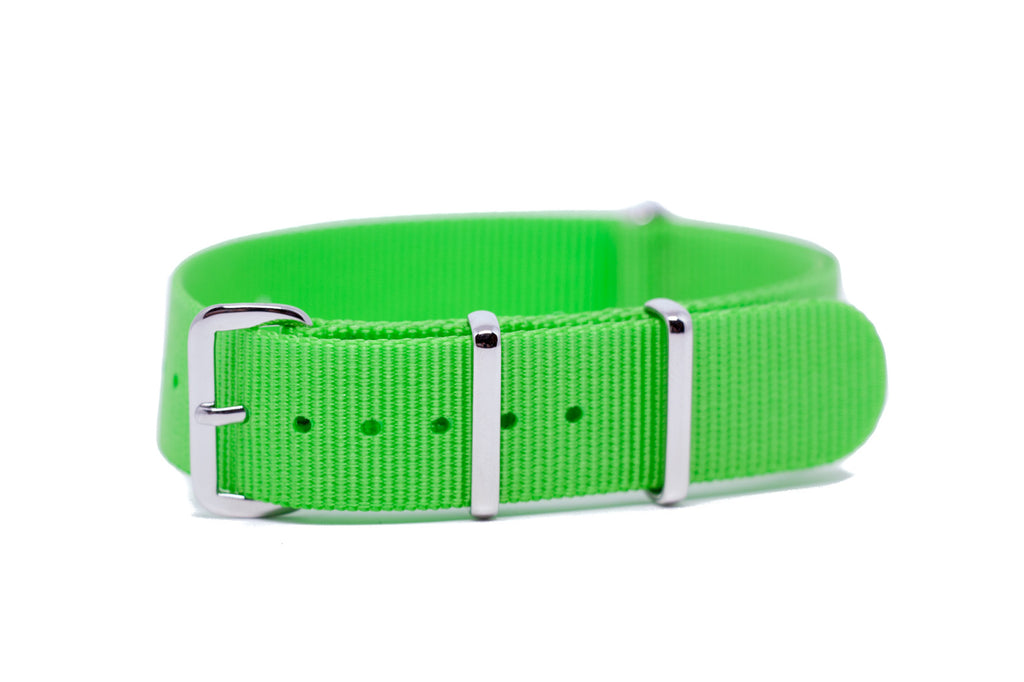18mm Bright Green Premium NATO Strap w/Polished Hardware