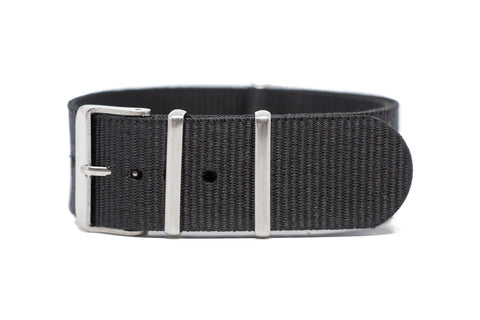 22mm Black Strap w/Satin Hardware
