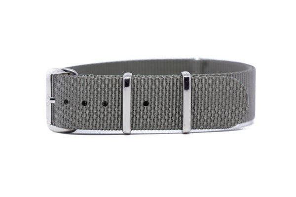 18mm Gray Premium NATO Strap w/Polished Hardware